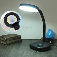 Flexible 5-20x Magnifying Magnifier Glass + Reading Study Desk Table Light Lamp