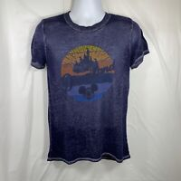 Walt Disney World Parks Mickey Mouse Blue T-Shirt Sunset Silhouette Women's S
