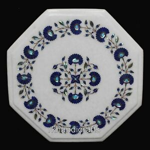 "15"" White Marble Corner Table Top Lapis Lazuli Stone Inlay Coffee Table for Home"