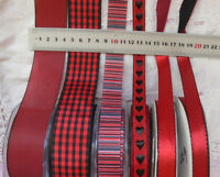 RED & BLACK Polyester 14-38mm Wide - 2, 3 & 5 Metres - 6 Design Style Choice