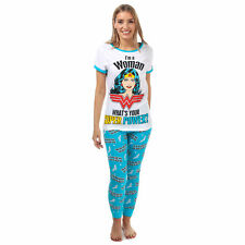 Womens Dc Comics Wonder Woman Pyjamas In White / Blue
