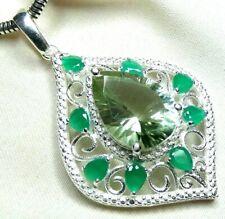 Prasiolith, Smaragd Anhänger 925 Silber wertvolle facettierte Edelsteine UNIKAT