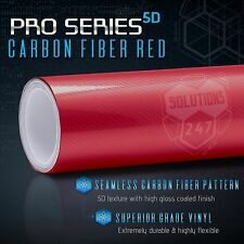 """12"""" x 60"""" In Vinyl Wrap Bubble Free Air Release 5D High Gloss Red Carbon Fiber"""
