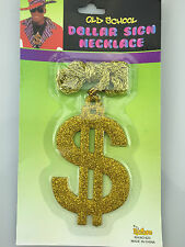 PIMP Daddy $ Necklace Gold Glitter Bling Dollar 12cm Medallion Thick Chain