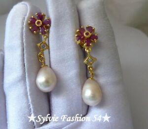 😍 Magnifiques Boucles d'oreilles argent 925 or Perles naturelles Topaze Rubis