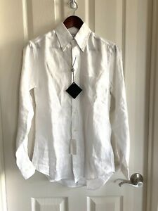 Brooks Brothers White Pure Irish Linen Button Down Dress shirt XS