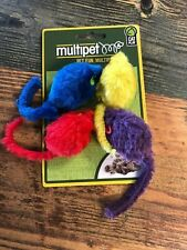 Multipet Multicolored Mice Cat Toy 4 Pack