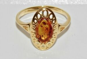 9ct Yellow Gold on Silver Real Amber Ladies Ring - size Q