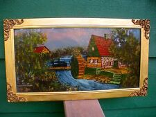 """Reverse Painting On Glass -""""THE VILLAGE MILL"""" - Gold Frame W/Filagree Corners"""