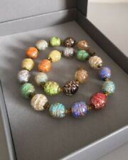 Vintage Venetian Murano Gold Foil Lampwork Glass Beads Necklace Wedding Cake
