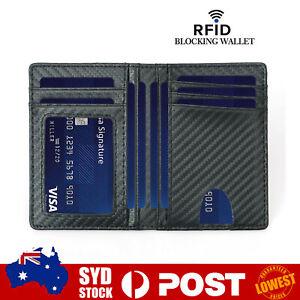 Mens Credit Card Drive Licens Holder Carbon Fiber RFID Blocking Slim Wallet AU O