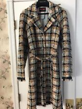Bazar Christian Lacroix Lightweight Wool Plaid Coat Belted Size 42
