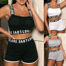 Women's Ladies LOVE Tape crop top short Two Piece Co ord Gym Cycling set