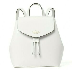 New Kate Spade Lizzie Saffiano Leather Medium Flap Backpack Leather White Dove