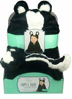 Little Miracles Animal Hugs Collection - Hooded Blanket w/ Plush - Skunk 2PC