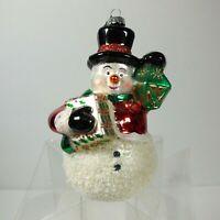 Celebrations by Radko Christmas Ornament Snowman Presents Glass 2011