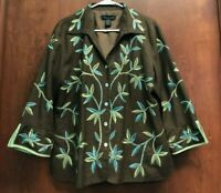Silkland Brown Blue Green Shirt Jacket Size XL Floral Embroidery 100% Silk