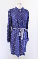 Lilly Pulitzer Davie Navy Blue White Button Print Tie Waist Shirt Dress Size 8