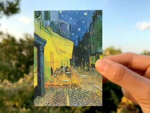 """Cafe Terrace at Night by Van Gogh 3"""" x 4"""" UV coated gloss sticker laptop"""