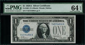 1928A $1 Silver Certificate FR-1601 Y-A Block - Graded PMG 64 EPQ