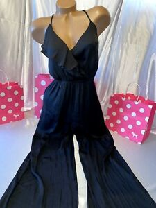 Victorias Secret Romper Solid Black One Piece Wide Leg Medium