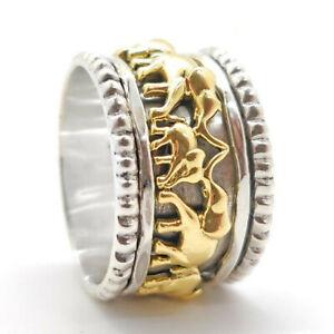 925 Sterling Silver Meditation Spinner Ring Elephant Handmade Statement Thumb