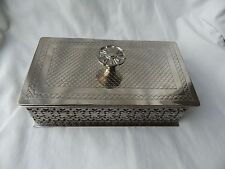 "Egyptian Brass Silver Plated Jewelry Box Handmade Blue Velvet 7.5"" X 4.25"" Sale!"