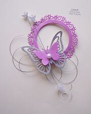 3D  BUTTERFLY CIRCLE  with WIRE  CARD CRAFT TOPPER  GEN 35-1 Pink
