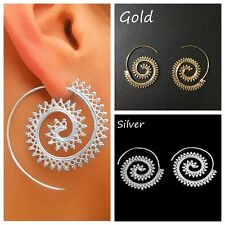 Vintage Womens Lady Circles Round Spiral Brass Tribal Hoop Earrings Jewelry