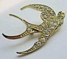 Charmante broche hirondelle couleur or cristaux diamant bijou vintage 5163