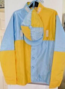 Genuine horse racing jockey silks  sky blue & yellow quartered jacket & cap