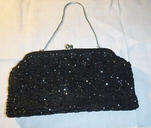 VINTAGE SEQUIN BLACK BEADED EVENING HANDBAG OR CLUTCH EVENING PARTY GOTHIC CHIC