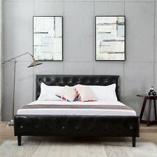 Full Size Black PU Leather Button Tufted Upholstered Platform Metal Bed Frame