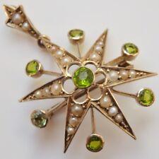 Stunning Antique Victorian 9ct Gold Peridot & Pearl set Starburst Pendant c1885