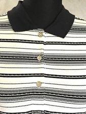 Bugatchi Ladies Golf Polo Shirt Top NEW $125 M Short Sleeve White Black Stripe