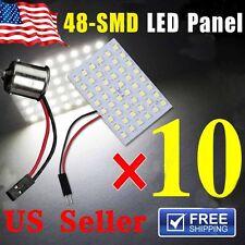 10x Xenon White 48-SMD LED Panel Interior Dome Map Light +BA9S+T10MIR IN U