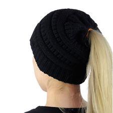 CC Ponytail Messy Bun BeanieTail Soft Winter Knit Stretchy Beanie Hat Cap New