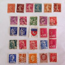 Lot of 26 France stamps~1893-1974~Mercury~Iris~sower~Marianne~Petain~farm woman