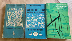 3 VINTAGE PELICAN BOOKS ON  FLOWERS,GRASSES AND HERBS.