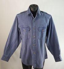 Vintage Banana Republic Safari Shirt Men's Size M/MEDIUM  Blue Long Sleeve 80's