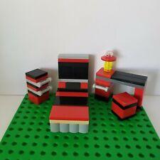 Lego Furniture BEDROOM Set BLACK RED Dresser Desk with Stool Headboard Mini Doll