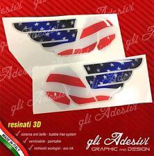 2 Adesivi Resinati Sticker 3D BUELL Serbatoio USA Flag white line logo