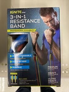 📀 IGNITE BY SPRI 3 IN 1 RESISTANCE BAND *3 BANDS 2 HANDLES*
