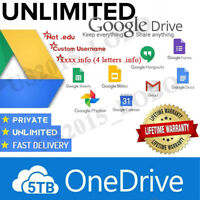 Lifetime Unlimited Google Drive + 5TB OneDrive | Custom Username