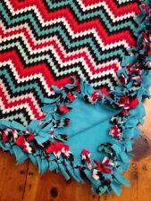 Handmade Fleece Tie-Blanket Fun Party Turquoise Red Chevron 58X72 - 2 layers
