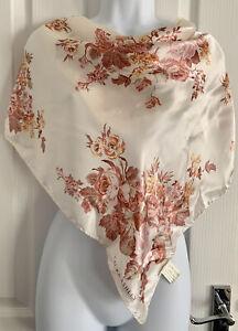 "Designer Laura Ashley Floral Print 100% Silk Satin Scarf 27""Square"