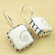"""925 Silver Plated Real Indian SHIVA EYE Exciting HANDCRAFTED Earrings 1"""" UNUSUAL"""