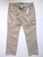 White House Black Market Blanc The Mod Slim Ankle Bling Belt Cargo Jeans 14R NWT