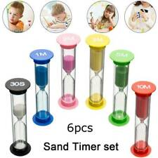 6PC Sand Timer Colored Hourglass Timers Clock for Kids Game Classroom Sand Clock