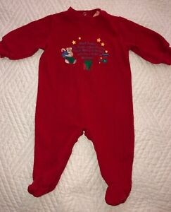 SMALL STEPS Sz 3-6 Months Baby Red Sleeper One Piece Outfit Christmas